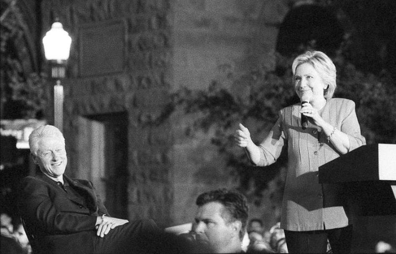 Bill Clinton Hillary Clinton President Thumbs Up Johnny Martyr Harrisburg PA  Black and White Film  black and white film photography