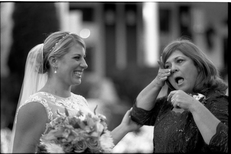 Johnny Martyr Frederick Maryland Wedding Photography Photographer Photojournalism Black and White Film  Black and White Film  black and white film photography Mom Crying Mother cry bride smile emotion emotional
