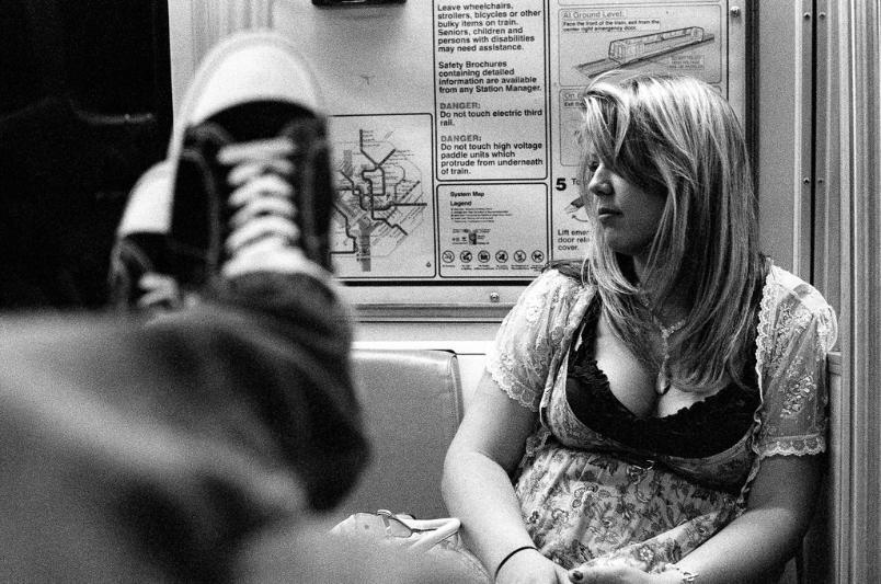 Stephanie DC Metro Chuck Taylor Converse focus blur girl woman blonde composition film Kodak  Black and White Film  black and white film photography