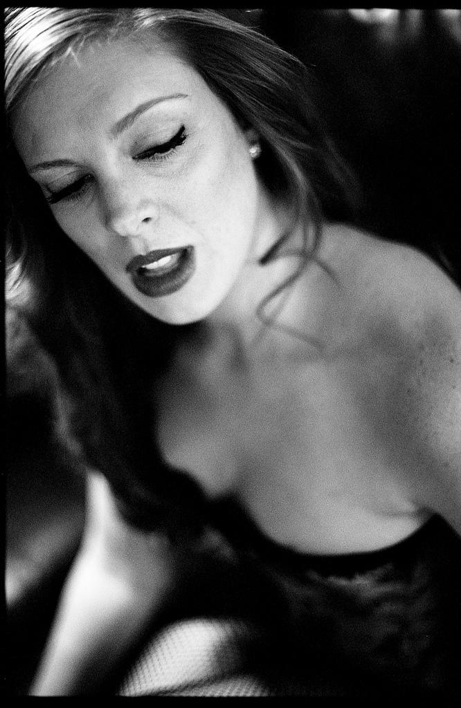 boudoir lingerie portrait b&w film black and white leica nokton voitlander mouth ajar  Black and White Film  black and white film photography