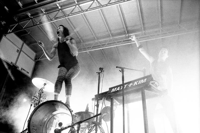 Matt and Kim Flying Dog Brewery Live Concert Nikon 28mm Kodak P3200  black and white film photography Johnny Martyr