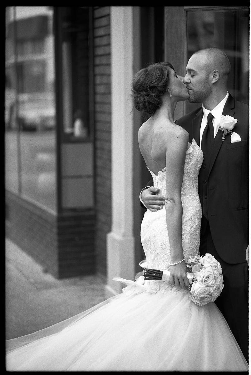 Johnny Martyr Frederick Maryland Wedding Photography Photographer Photojournalism Black and White Film  Black and White Film  black and white film photography kiss downtown chic timeless