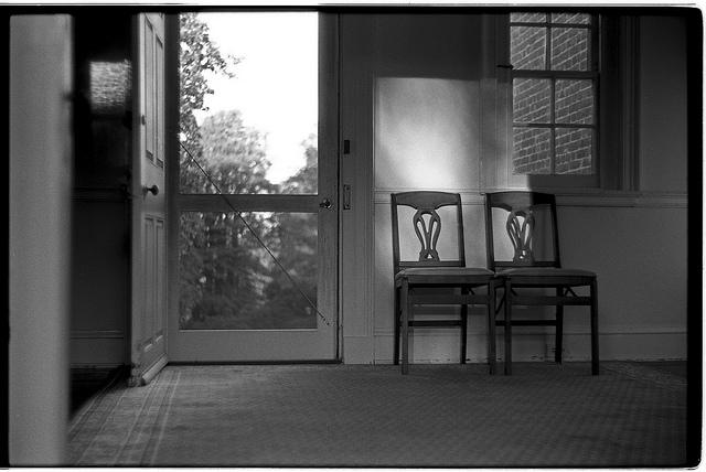 two chairs sunset rectangles composition lines black and white antique alone solitude empty emptiness old wisdom quiet peace tranquility johnny martyr frederick photographer photography maryland film 35mm