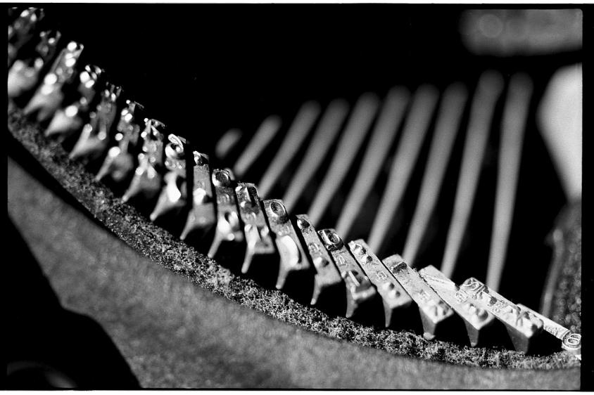 black and white film photography typewriter